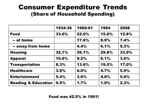 USA Consumer Expenditure Trends 1934-2008